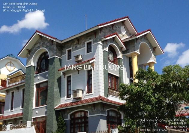 Nhà biệt thự đẹp ốp đá xanh hải dương và đá vân gỗ